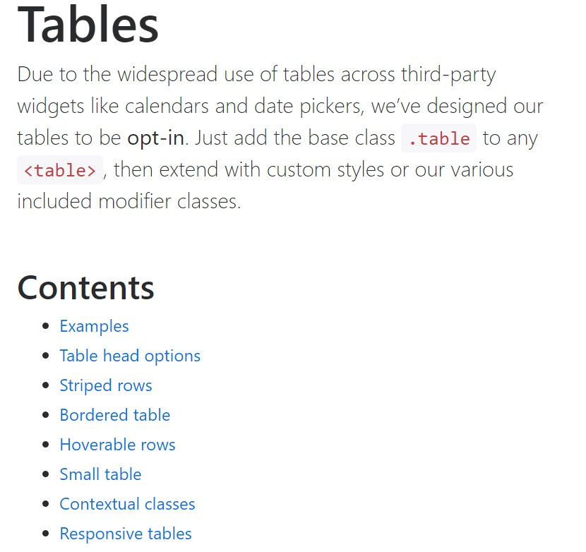 Bootstrap tables  approved documentation