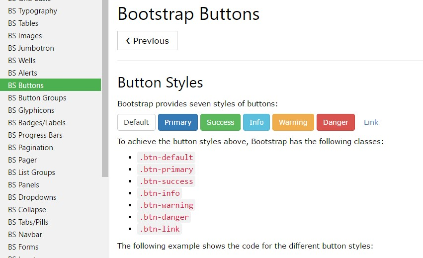 Bootstrap Buttons Link