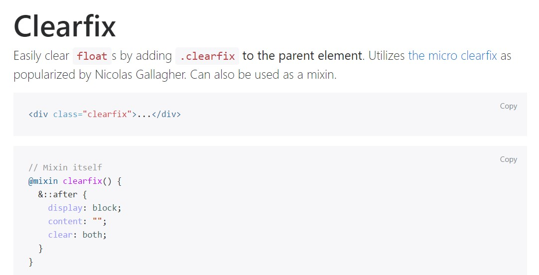 Bootstrap clearfix  approved documentation