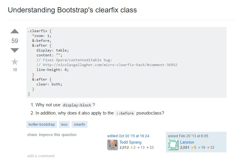 Learning about Bootstrap's clearfix class