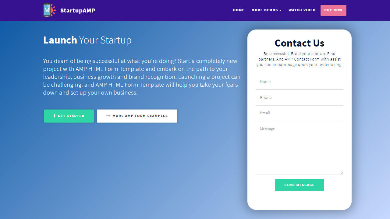 AMP HTML Form Template
