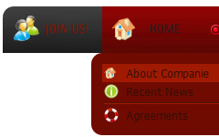 Drop Down HTML Menu Red Toolbars
