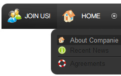 HTML Hover Buttons Grey Toolbars