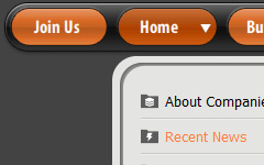 Horizontal Navigation Menu Orange