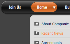 CSS Horizontal Menu Dropdown Orange