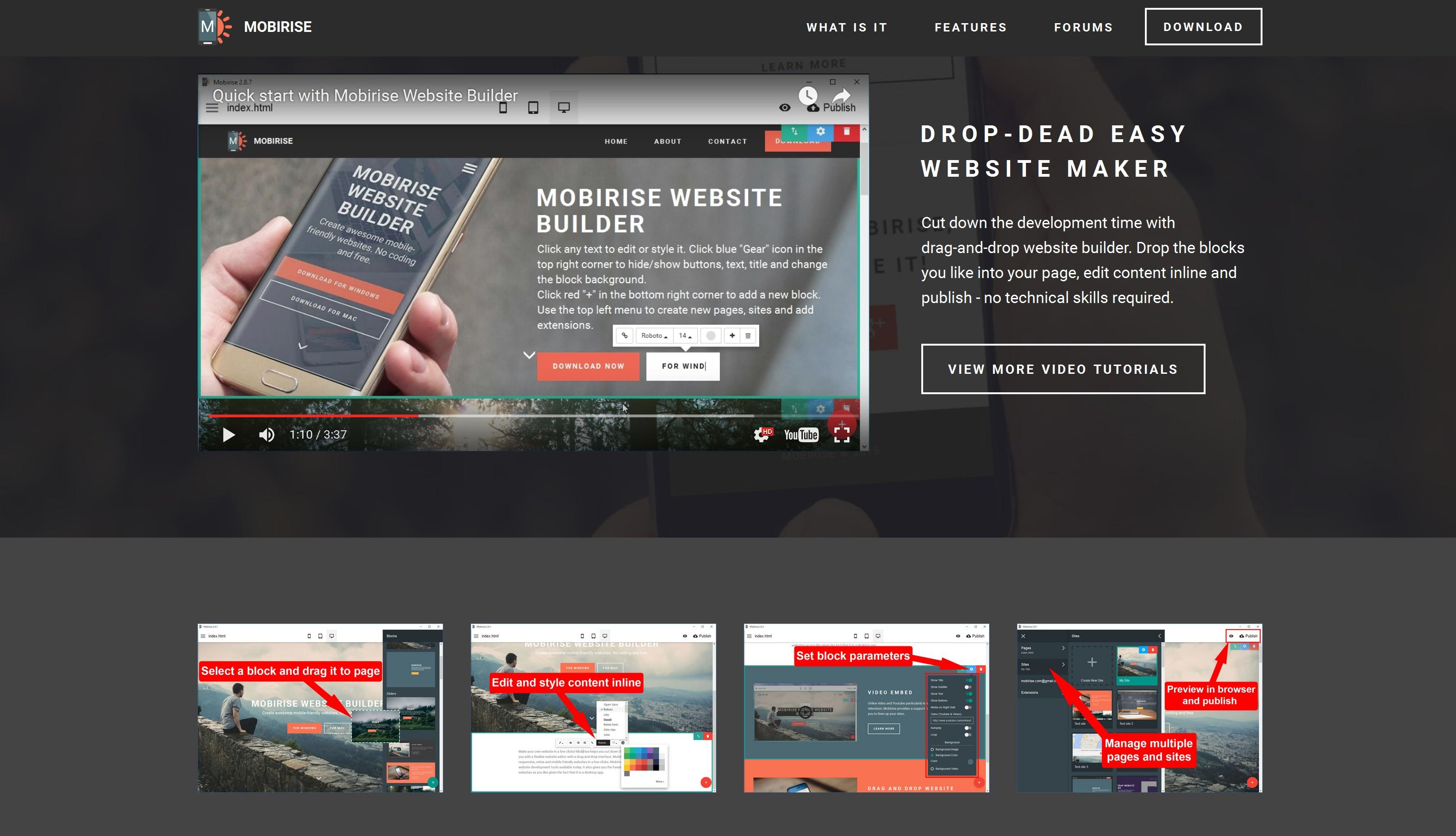 WYSIWYG Mobile Website Creator Software