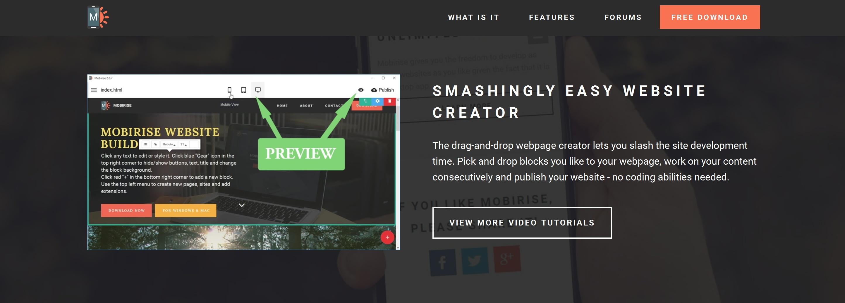 Mobile Simple Website Creator Software