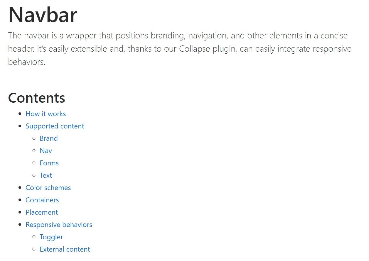Bootstrap Navbar  main documentation