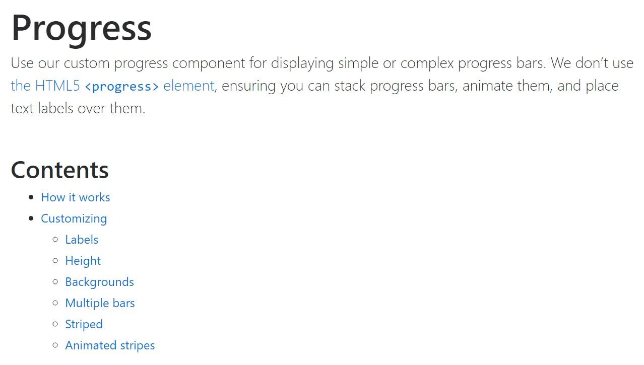 Bootstrap progress bar  main  information