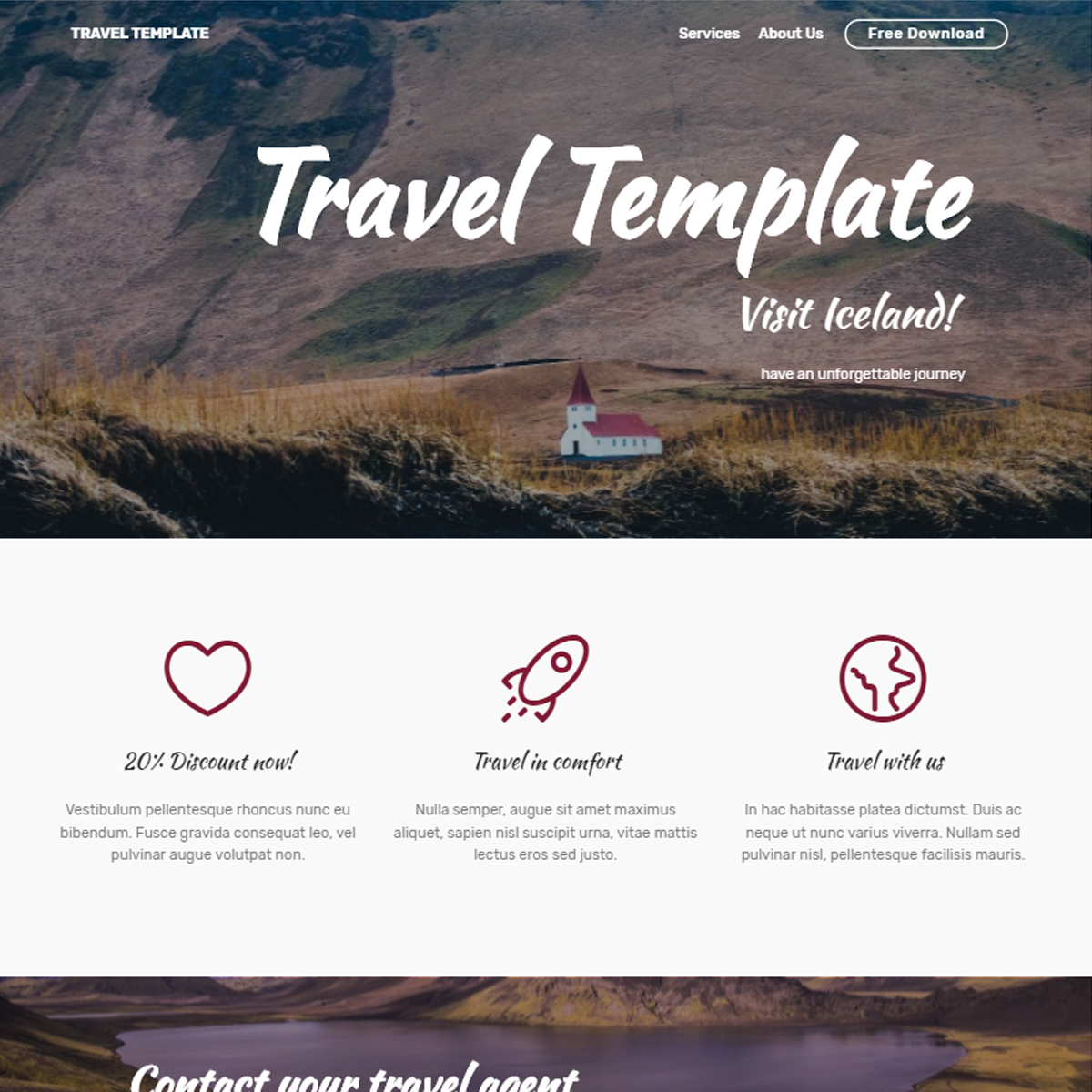 HTML5 Bootstrap Travel Themes