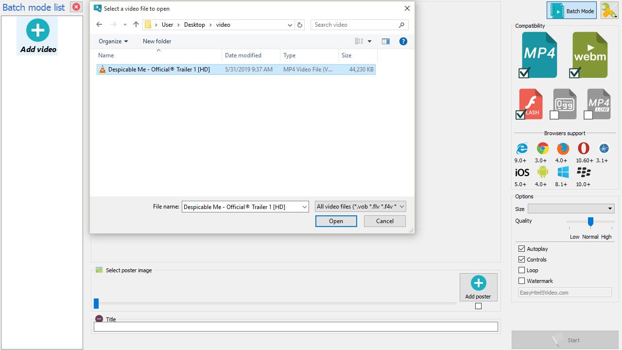 Video HTML5 generator