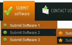 Animated Rollover Buttons Orange Toolbar