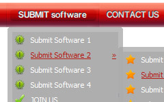 DHTML Drop Menus Rounded Toolbar Red