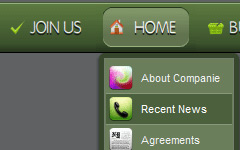 Drop Down Menu Bar Green